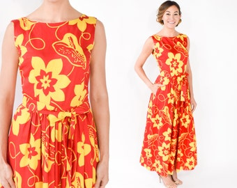 70s Palazzo Jumpsuit   Red & Yellow Floral Print Wide Leg Sleeveless Jumpsuit   Small
