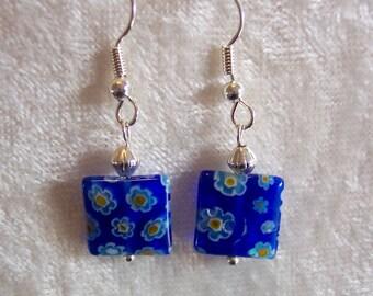 Blue Earrings, Millefiori Glass Earrings, Blue Flower Earrings, Yellow Flower Earrings, Silver Earrings, Italian Glass, Clip ons Available