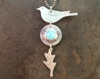 Bird Larimar Cabochon Sterling Silver Nature Metalwork Necklace Pendant