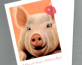 Pig Valentine Card - A Hog and a Kiss -  Funny Animal Valentine Card - Proceeds Benefits Animal Charity