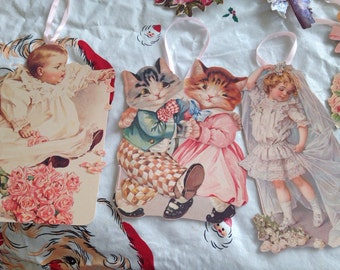 Victorian Die Cuts Children Kittens Parasols