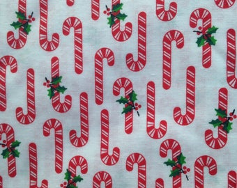 Vintage Candy Canes Fabric Holly Christmas