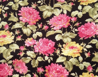 Pink Yellow Roses Cotton Quilting fabric