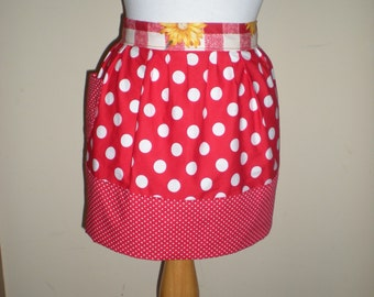 Vintage half apron cottage chic red white polka dots red white yellow floral check strap Great hens night kitchen tea bridal shower