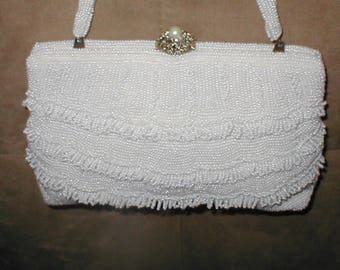 Vintage 1940's White Beaded Evening Bag Purse