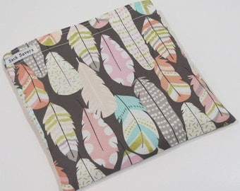 Reusable Sandwich And Or Snack Bag Feather Snack Sandwich Bag Woodland Bag