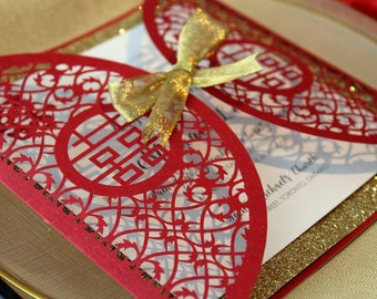 Laser Cut - DOUBLE HAPPINESS - *Sample*  Shimmering Red with Gold Glitter Laser Cut Folder Chinese Wedding Invitation Asian