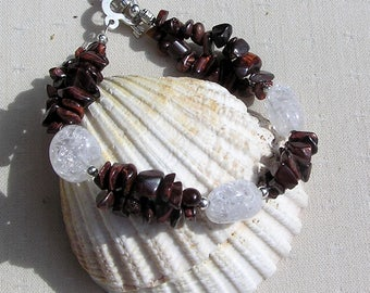 "Red Tigers Eye & Crackled Clear Quartz Crystal Gemstone Bracelet ""Monarch Dew"" Tiger Eye Bracelet, Chakra Bracelet, Quartz Bracelet"