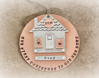 New Home / New House / First Christmas / Ornament / Personalized / Customized / House Warming Gift / Copper / Silver / Aluminum / Handmade