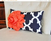 BLACK FRIDAY SALE Decorative Throw Pillow -- Coral Flower on Navy and White Moroccan Lumbar Pillow