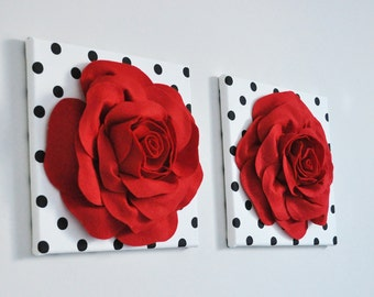 Nursery Wall Hanging Decor, Red Rose Art Set, Floral Canvas, Two Red Roses, Red Minimal Art, 12 x 12 Red Wall Art, Love