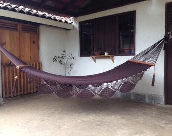 BROWN DOUBLE  HAMMOCK-  Solid Color- 100% Cotton Thread- Excellent quality and Durability-Ships from Nicaragua-