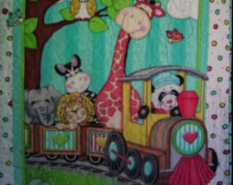 Springs Creative Fabric-Nursery Bazooples Choo Choo Handcrafted Panel Quilt-Handmade Quilt-Made is USA by MJ Quilts