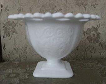 Vintage Milk Glass Pedestal Compote Bowl.