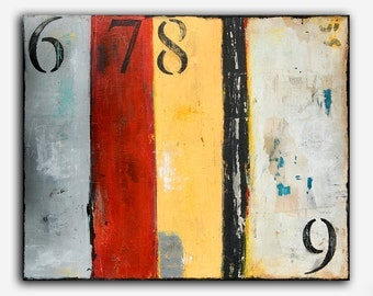 Rustic Urban Number Painting 30x24 Canvas Abstract Painting