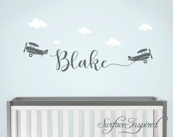 Wall Decals Personalized Names Nursery Wall Decal Kids Airplanes Wall Decal Name Decal For Boys Baby Nursery Blake With Airplanes and Clouds