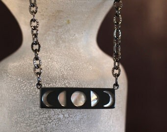 Phases of the Moon Necklace Silver Necklace Mother of Pearl Necklace Bar Necklace Celestial Jewelry Full Moon Pendant Lunar Phases Jewelry