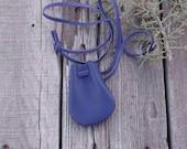 ON SALE Purple leather neck bag , Purple medicine bag , Purple amulet bag , Ready to ship