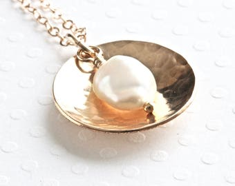 Gold Disc Necklace, White Pearl Pendant Necklace, Freshwater Pearl Necklace, Gold Chain Necklace, Gold Filled Jewelry for Women