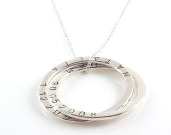 Personalised Two Rings Large Russian Ring Necklace , Mother Necklace with Hand stamped Children's Names - Sterling Silver, Mother's Gifts