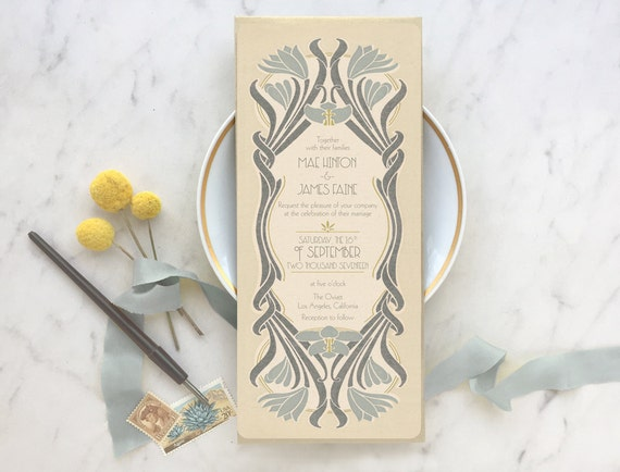 Wedding Invitations, Wedding Invitation Set, Save the Date, Gatsby Wedding, Rustic Wedding Invitation, Art Nouveau Wedding, Floral Wedding