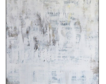 Extra Large Abstract White Original Painting on Canvas Modern Acrylic Painting - 48x48 - White, Cream, Gold