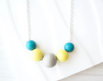 Simple Wood Necklace, Yellow, 5th Anniversary Gift, Modern Jewelry, Teal Blue, Multicolor Colorful, Gray, Nickel Free Sterling Silver Option