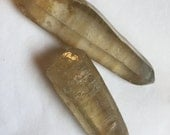 Set of 2 RARE Green Tourmalinated Rutilated Lemurian Seed Laser Wand Quartz Crystal Point etched