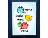 """Funny Magnifying Pocket Mirror """"Meow Chicka Meow Meow"""" CUTE and HANDY~ Great Gift Idea for Girlfriend, Best Friend. Make her SMILE"""