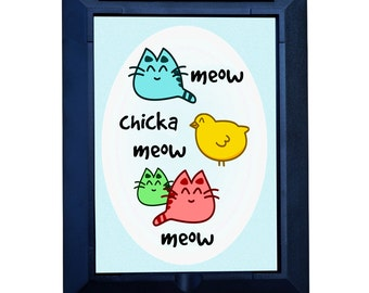 "Funny Magnifying Pocket Mirror ""Meow Chicka Meow Meow"" CUTE and HANDY~ Great Gift Idea for Girlfriend, Best Friend. Make her SMILE"