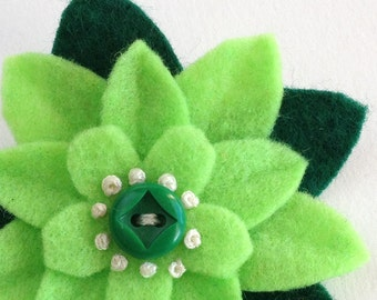 Felt Flower Pin Bright Green Eco Felt with Vintage Button - St. Patrick's Day