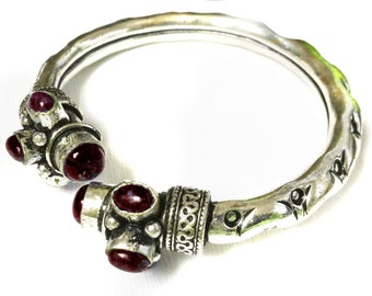 Silver Bangle Bracelet,Red Garnet blood stone,January birthstone Silver Bangle ,Adjustable,tribal bangle bracelet,Stackable ethnic jewelry