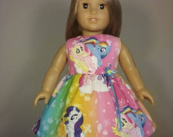 18 inch Doll Clothes Tricolor Pony Print Dress will fit American Girl Doll Clothes Handmade