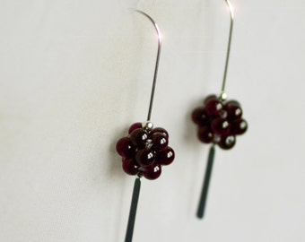 Crimson - Garnet Drop Sterling Silver Earrings