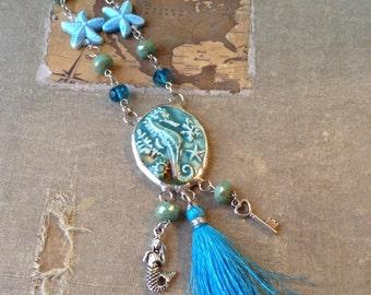 Ocean Life Sea Horse Cameo and Mermaid Tassle Necklace