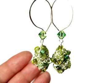 Green Drop Earrings, Light Green Earrings,  Beaded Earrings,  Fiber Art, Artsy Jewelry, Artsy Gifts, Moss Green