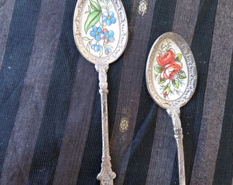 Two Japanese flower spoons