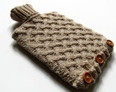 Hand Knitted Hot Water Bottle Cover with  two litre  hot water bottle in cream included