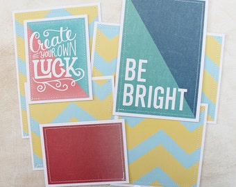 Bright - Premade Scrapbook Page Sewn Photo Mat Set