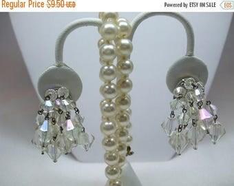 SALE 50% OFF Vintage AB Bead Dangle Earrings