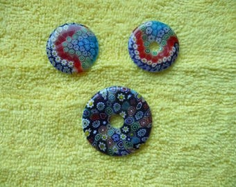 Focal, Millefiori glass multicolored, Package of 3.