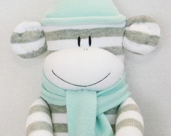 Sock Monkey Grey and White Stripes with Light Aqua Hat and Scarf Baby Toy