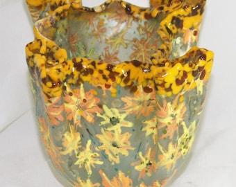 Yellow Orange Forever - Fused Glass Vase Etsy