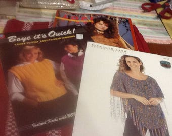 3 new knit pattern booklets  sweaters, vests, shawls