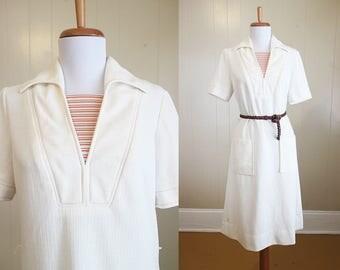 Summer Shift Dress Vintage Cream Red Stripe Sailor Pockets Mod 60s Medium