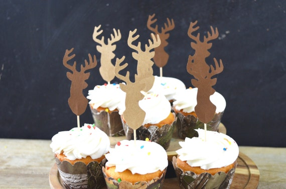 Deer Silhouette Cupcake Toppers - bucks in shades of brown, pink, Lumber Jack, or orange