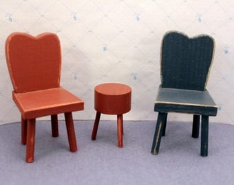 Pair Miniature Wood Chairs and Stool Dollhouse  Kitchen Furniture Country Red Blue