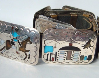 Navajo Storyteller Belt 9 panels Multi Stone Inlay Sterling Silver Becenti Signed Vintage