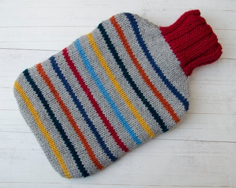 Knitted Hot water bottle Cover Multi-coloured Stripes wool and alpaca