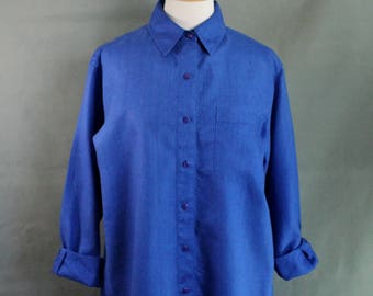 Royal Blue Linen Shirt, Long Sleeve Shirt, Button Down, Artist Work Shirt, Vacation, Tropical Shirt, Vintage, Womens Size Large